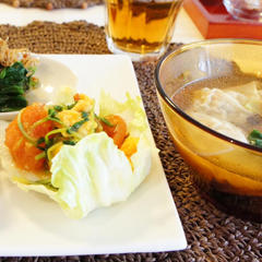 雲呑スープ献立「卵とトマトの炒め物」