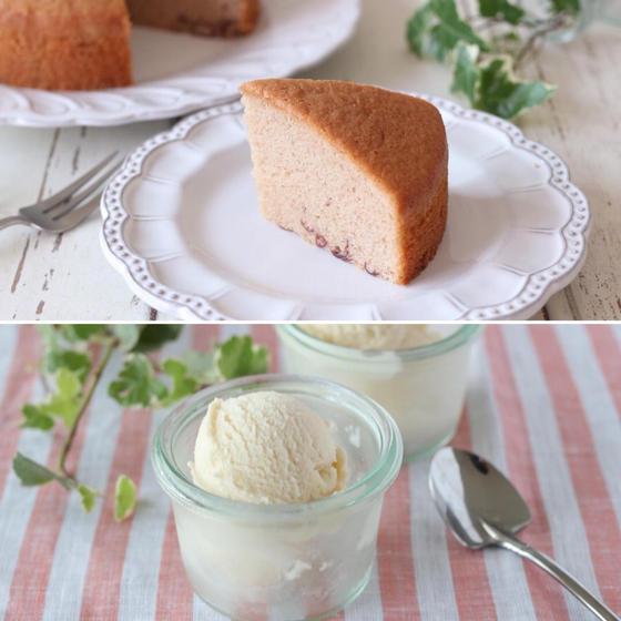 グルテンフリー・米粉のあずきケーキ&米粉アイス