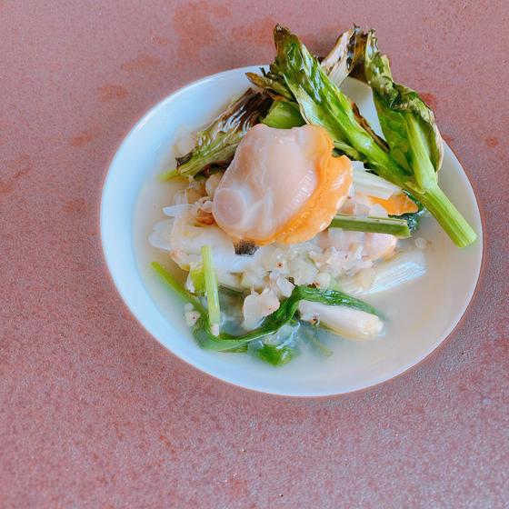 まるでレストランの味「春の山菜と貝の蕎麦の実スープリゾット」