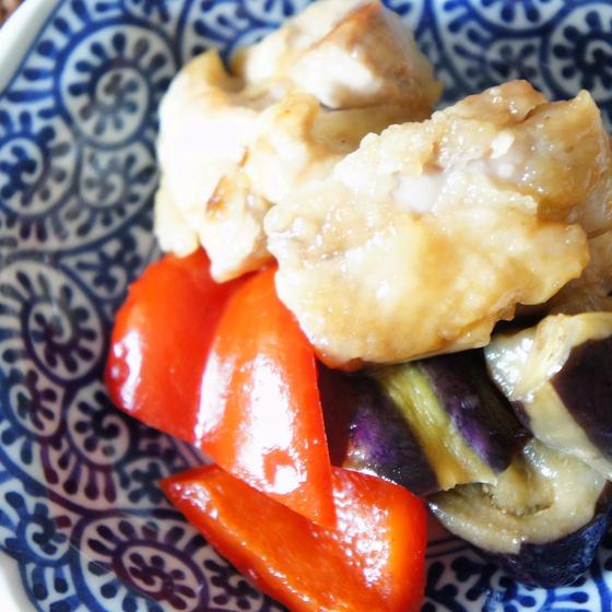 鶏肉と茄子の甘酢炒め