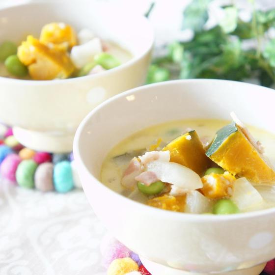 南瓜と豆のスープ