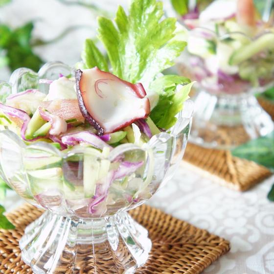 タコと香味野菜のサラダ