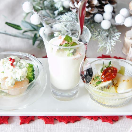 white colorの前菜三種盛り
