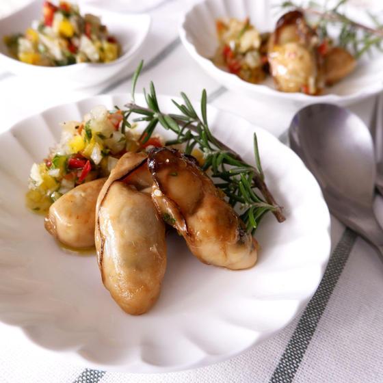 牡蠣のグリル ラビゴットソース