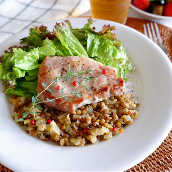 豚肉のソテー レンズ豆のソース