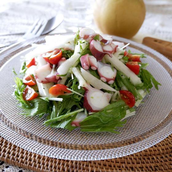 梨と水菜とタコのジューシーサラダ