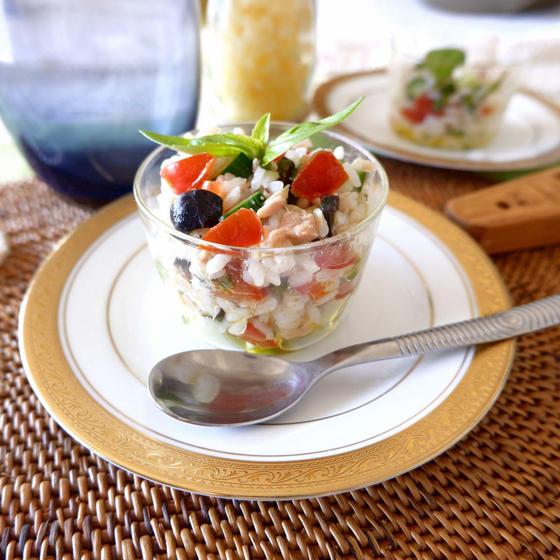 ツナときゅうりのバジルライスサラダ