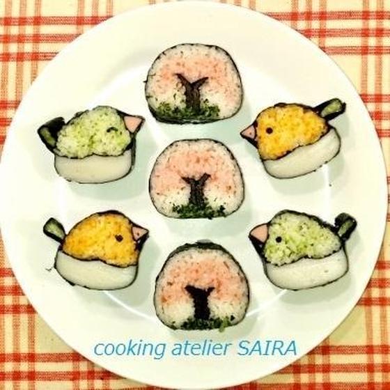 確≫桜と小鳥(お花見)◇飾り巻き寿司