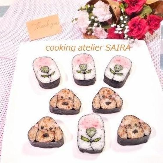 確≫母の日にカーネーションとプードル◆飾り巻き寿司◆
