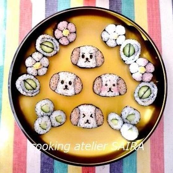 確≫体験レッスン)可愛い犬と基本のお花◇飾り巻き寿司