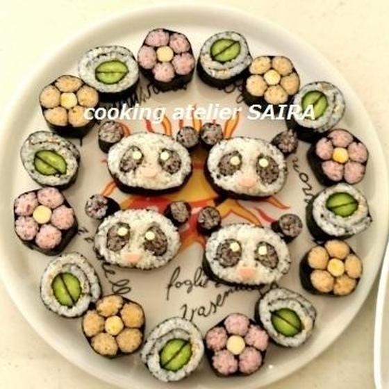 確≫体験(基本のお花とパンダ)◇飾り巻き寿司