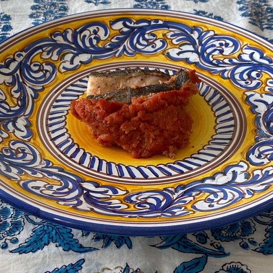 鮮魚とトマト味噌おからの包み焼 マスカルポーネ添え
