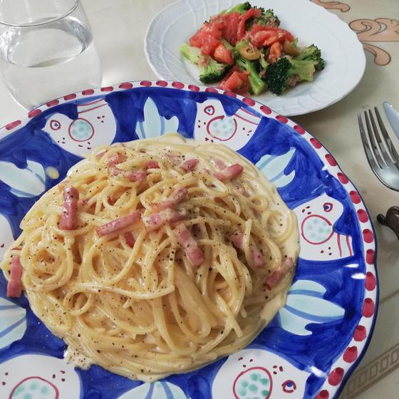 【ZOOM】リストランテの絶品カルボナーラ&地中海風サラダ