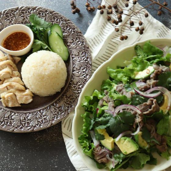 カオマンガイ&牛肉とアボカドのベトナム風サラダ2品!