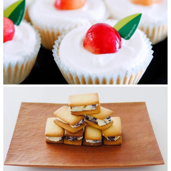 レーズンサンドクッキーとカップチーズケーキ