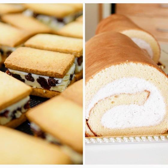 和三盆ロールケーキとレーズンサンドクッキー