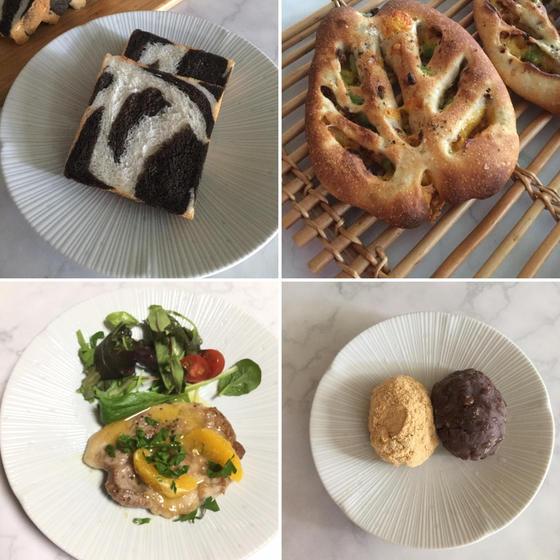 酒種のゼブラ食パン・フーガス、ポークソテー、おはぎ