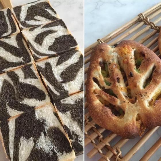 イーストのゼブラ食パン、ドライトマトとチェダーのフーガス