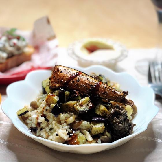 燻製さんまと秋茄子のリゾットナッツ入り自家製タプナード