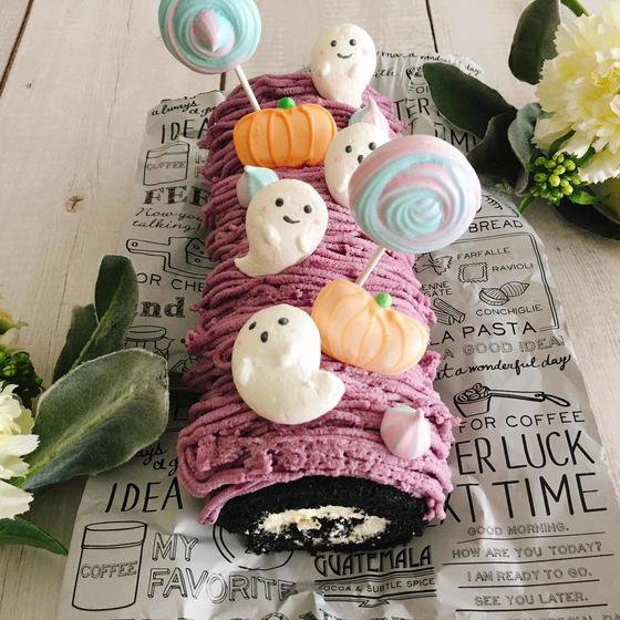 ハロウィンロールケーキとおばけのメレンゲクッキー