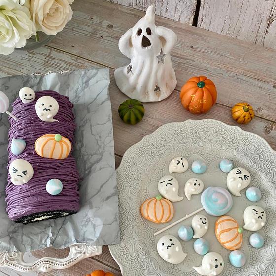 10月レッスン 紫芋モンブランとお化けのメレンゲクッキー