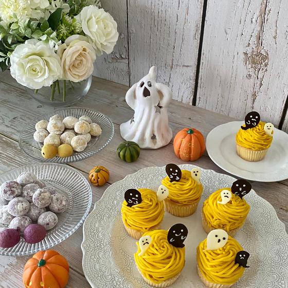 10月レッスン かぼちゃモンブランと2種類のスノーボール