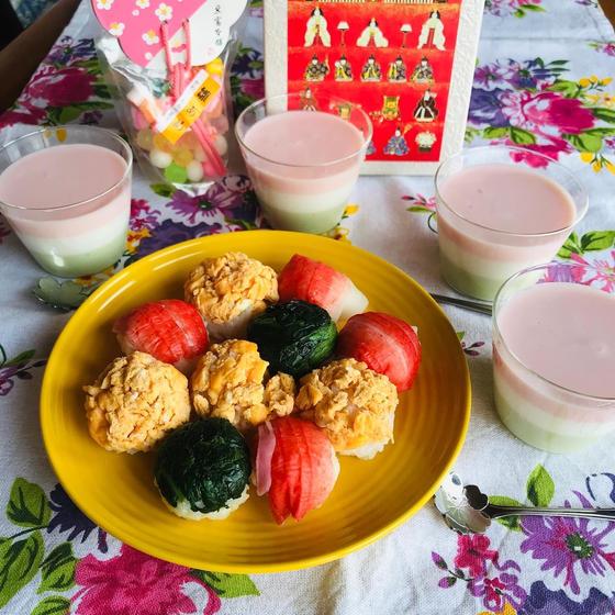 キッズひなまつりレッスン♫三色のひしもちゼリーと手毬寿司