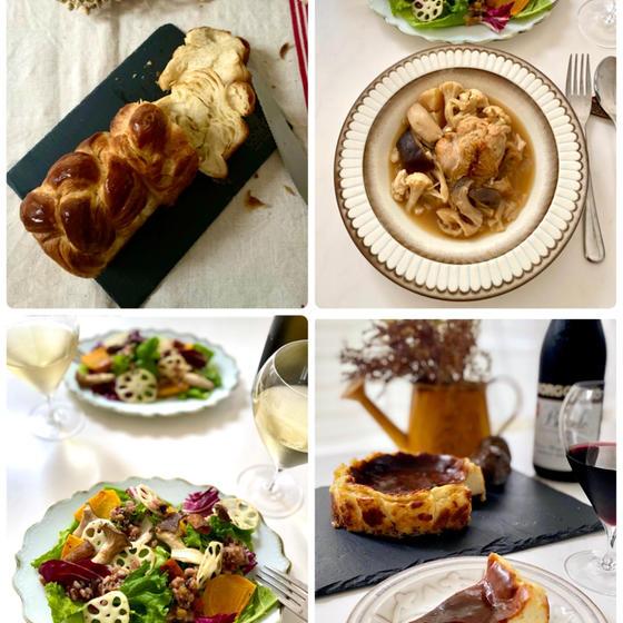 デニッシュ食パン&鶏肉とキノコの白ワイン煮バター醤油風味、秋のごちそうサラダ発酵雑穀ドレッシング、ゴルゴンゾーラのチーズケーキ