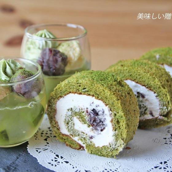 抹茶ロールケーキ&あんみつ風ゼリー