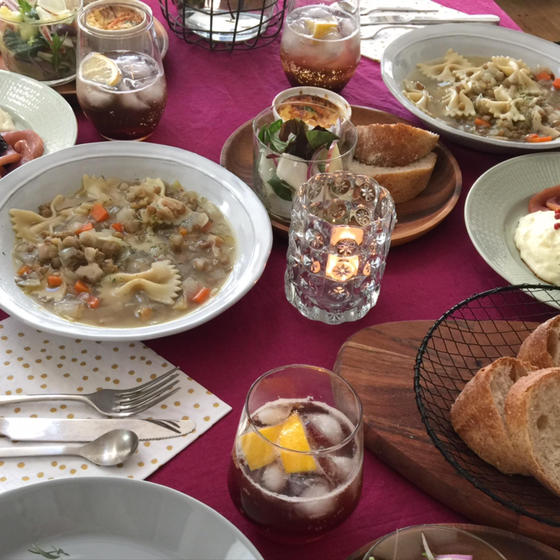 レンズ豆とファルファレのスープ