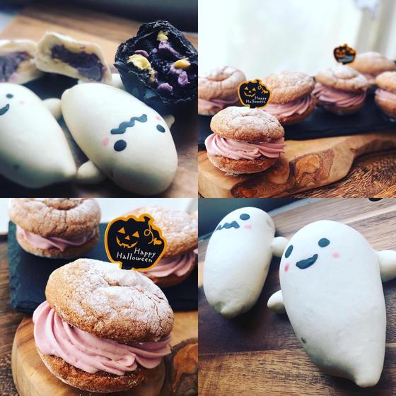 10月ハロウィン『おばけクリームパン&ショコラブッセ』