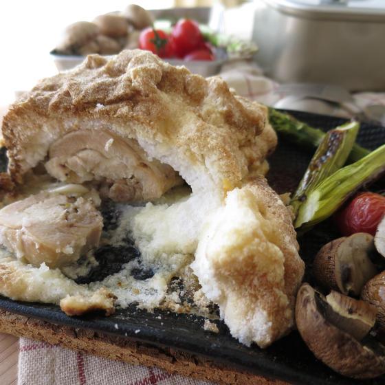 12月【オンラインA1】鶏もも肉の塩釜焼き、他1品