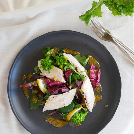 茹で鶏のサラダ マスタードドレッシング