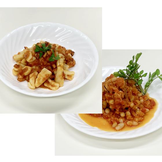 チカティエッリのタコのソース、豚肉とインゲン豆の煮込み