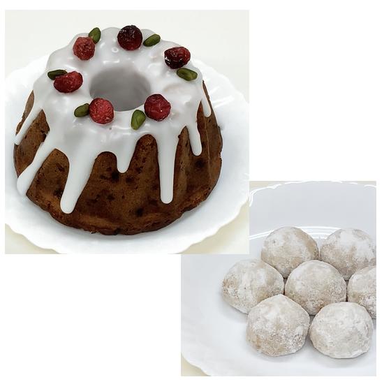 クリスマスの焼き菓子2種:スパイスフルーツケーキとクッキー