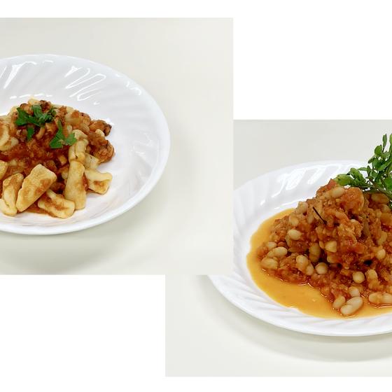 チカティエッリのタコのソース、豚肉と白インゲン豆の煮込み