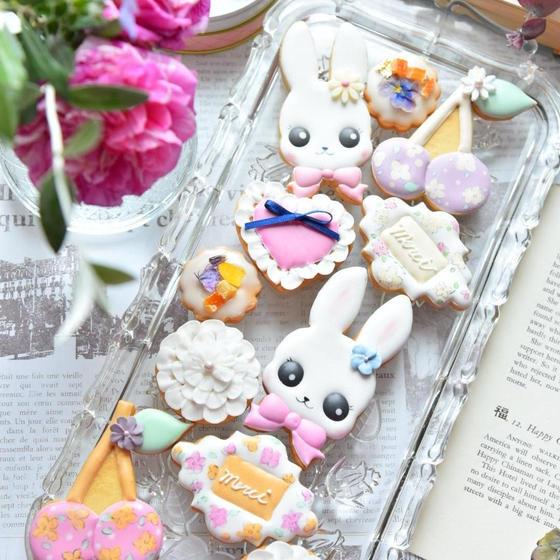 Botanicalアイシングクッキーうさぎ&フラワープリント
