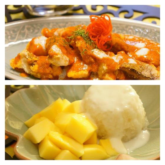 揚げ魚のカレーソースともち米マンゴーのデザート♪