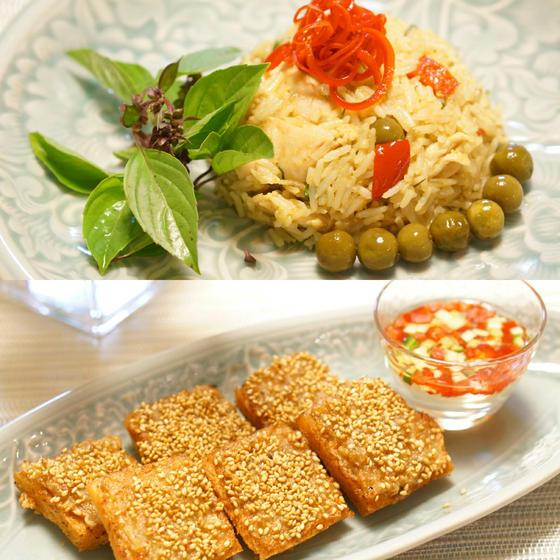 大人気メニュー!海老のすり身トースト揚げ&グリーンカレー炒飯