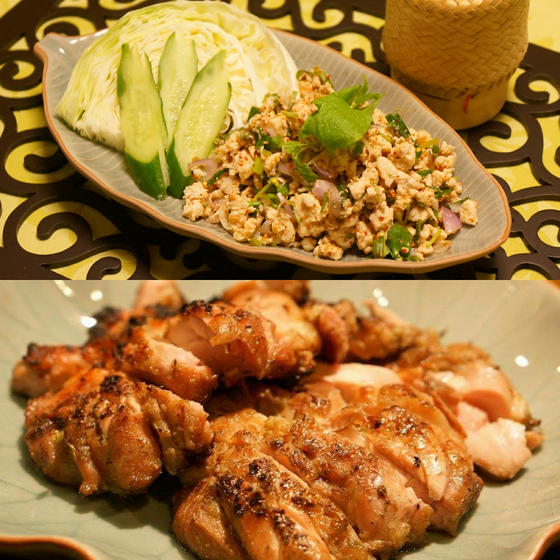 タイ東北地方特集!大人気、豚肉のラープと鶏肉の炙り焼き。