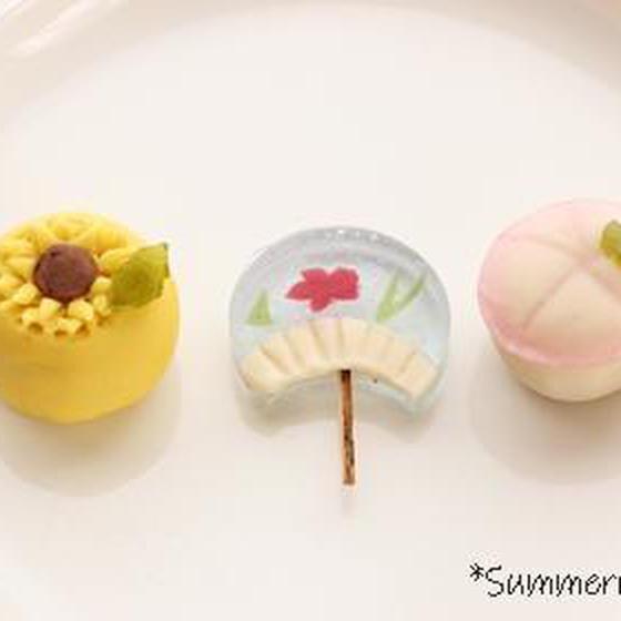 夏の練り切り教室:ヒマワリ・うちわ・朝顔