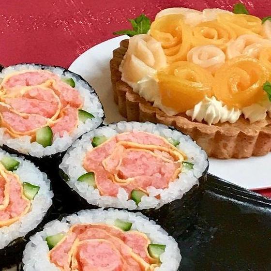 お花の飾り巻き寿司&お花のタルト<瀬戸教室開催>