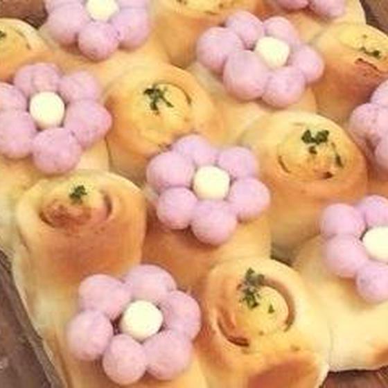 お花のちぎりパン&カスタードベリー