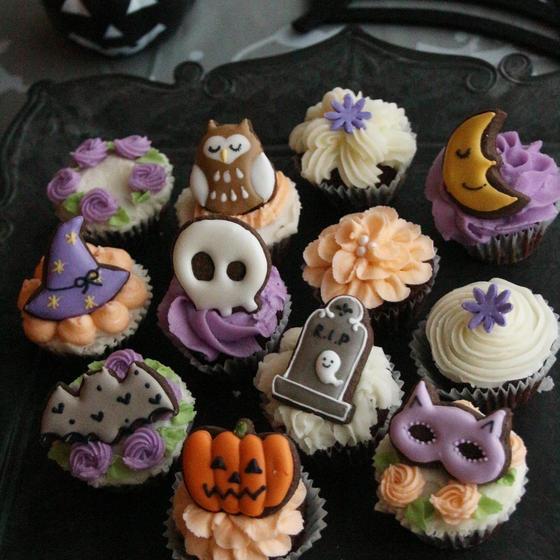 グルテンフリーのハロウィンカップケーキデコレーションレッスン