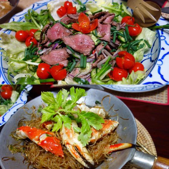 タイ料理入門レッスン!蟹の春雨蒸し&牛肉サラダ