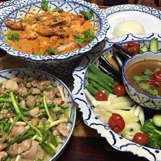 タイのランチレッスン!海老味噌のディップ&海老のカレー炒め他