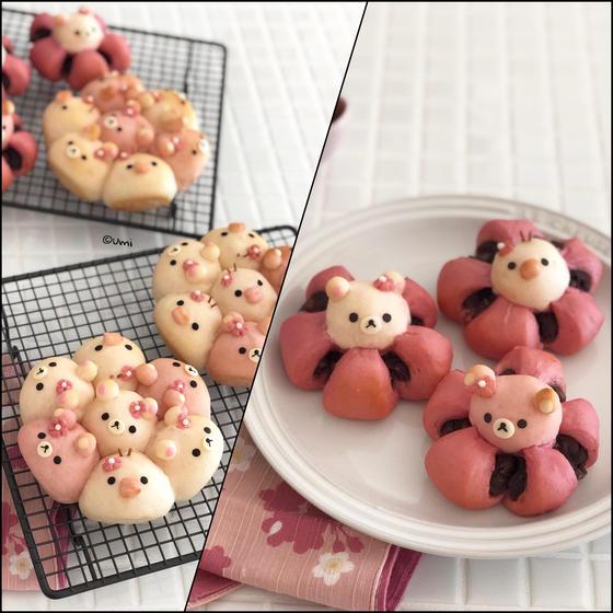 春色の桜あんぱんとミニちぎりパン