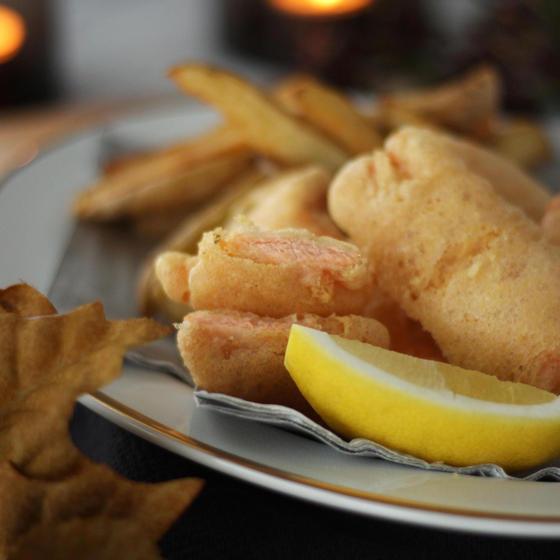秋鮭のフィッシュアンドチップス