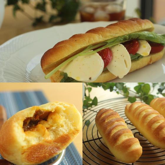 パン用デュラム小麦粉で作るカプレーゼサンドとプチカレーパン