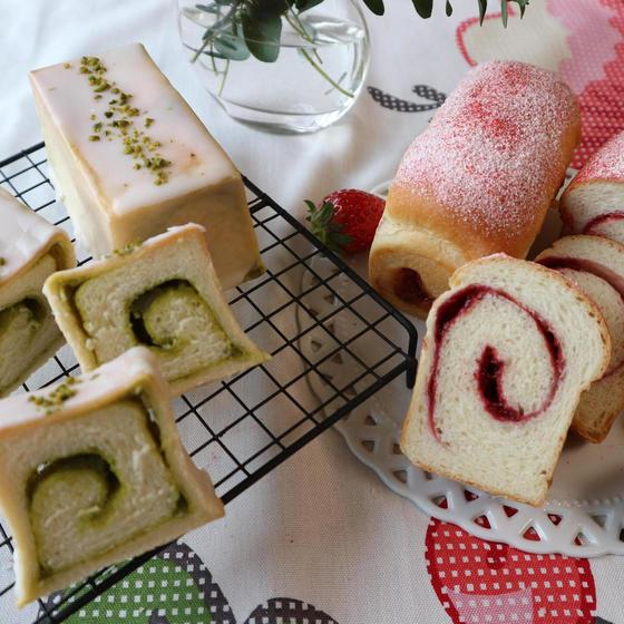 2種のミニ食パン(ストロベリー・ピスタチオ)